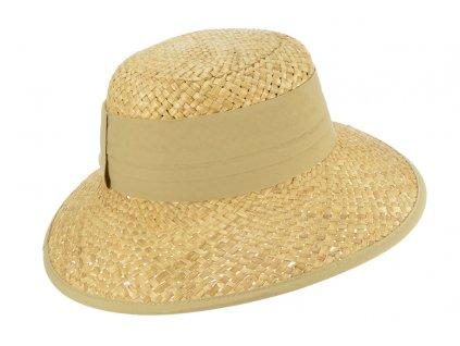 Dámský béžový letní slaměný klobouk s béžovou stuhou - Seeberger since 1890