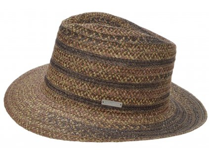 Hnědý letní klobouk Fedora Bogart - viskóza a konopí - hemp and viscose