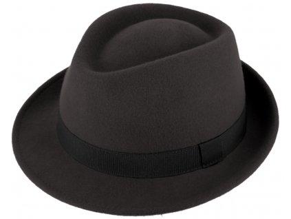 Klasický trilby klobouk vlněný Fiebig  - šedý s šedou stuhou