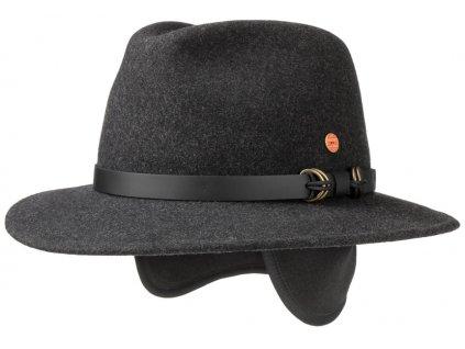 Cestovní nemačkavý voděodolný šedý klobouk Mayser - Earflap Georgia Traveller (s ušní klapkami)