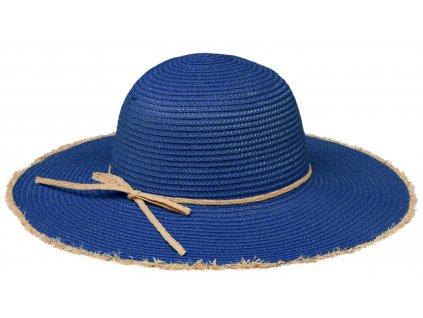 Klasický modrý dámský slaměný klobouk Fiebig - Brim Hat Base Point