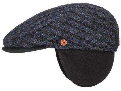 Pánská zimní pletená modrá vlněná bekovka - Mayser -  Matteo (ušní klapky)