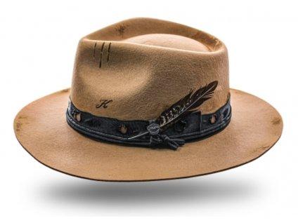 Béžový klobouk fedora - Quinn - vintage - limitovaná kolekce