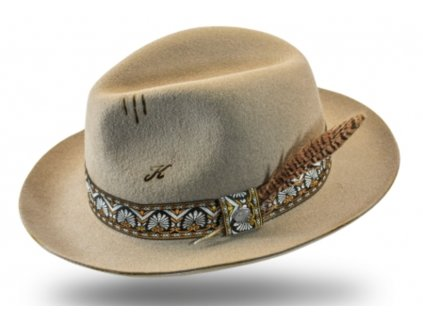 Béžový klobouk fedora - Pino - vintage - limitovaná kolekce