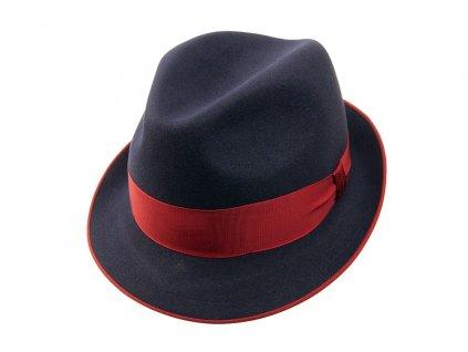 Plstěný Trilby klobouk Tonak 11376/12 - modrá s červenou stuhou