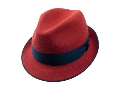 Plstěný Trilby klobouk Tonak 11376/12 - červený s modrou stuhou
