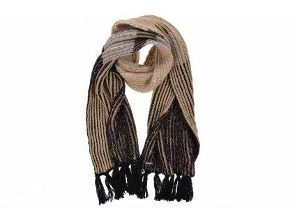 Zimní pletená šála s žebrovaným vzorem od Seeberger s třásněmi