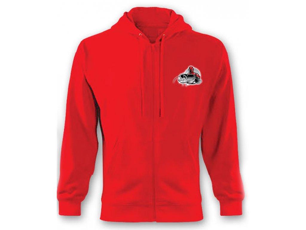 Mikina Hell-Cat se zipem a kapucí červená