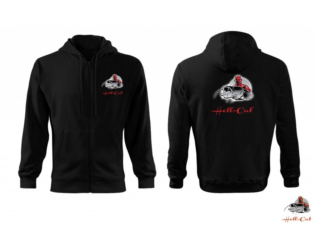 Hell-Cat mikina černá s kapucí a zipem, vel.L