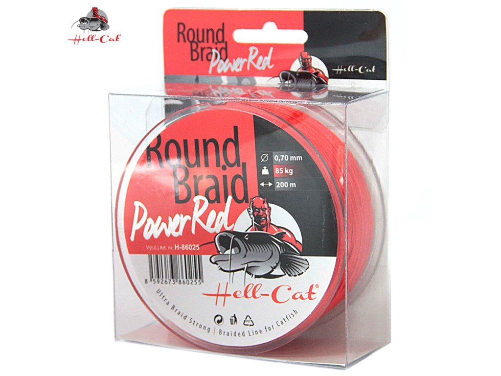 Hell-Cat Splétaná šňůra Round Braid Power Red 0,80mm, 100kg, 200m