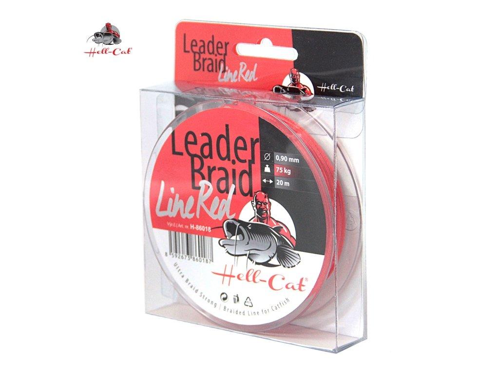 Hell-Cat Návazcová šňůra Leader Braid Line Red 1,40mm, 125kg, 20m