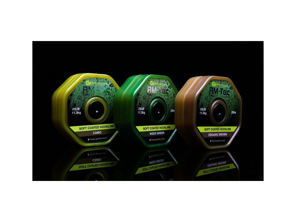 RidgeMonkey RM-TEC Soft Coated potahovaná šňůra 35lb/20m (Varianta camo)