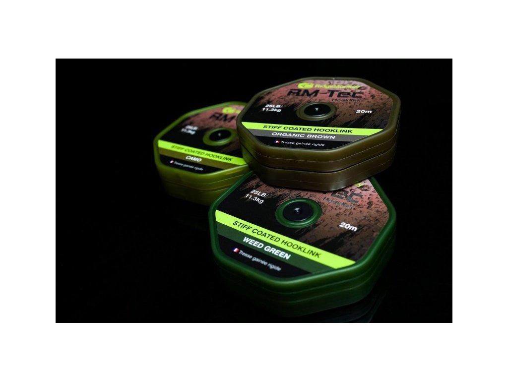 RidgeMonkey RM-TEC Stiff Coated šňůrka s pevným potahem 35lb/20m (Varianta Green)