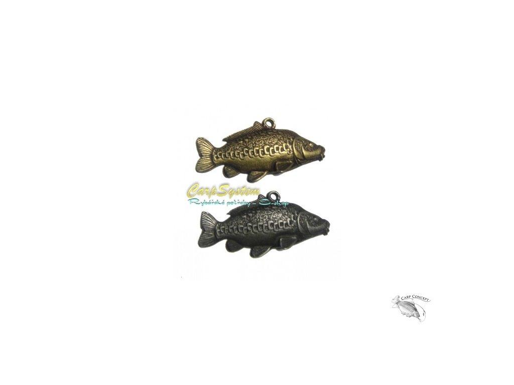 Rybářský přívěsek na krk - Kapr řádkáč -  Stříbrný