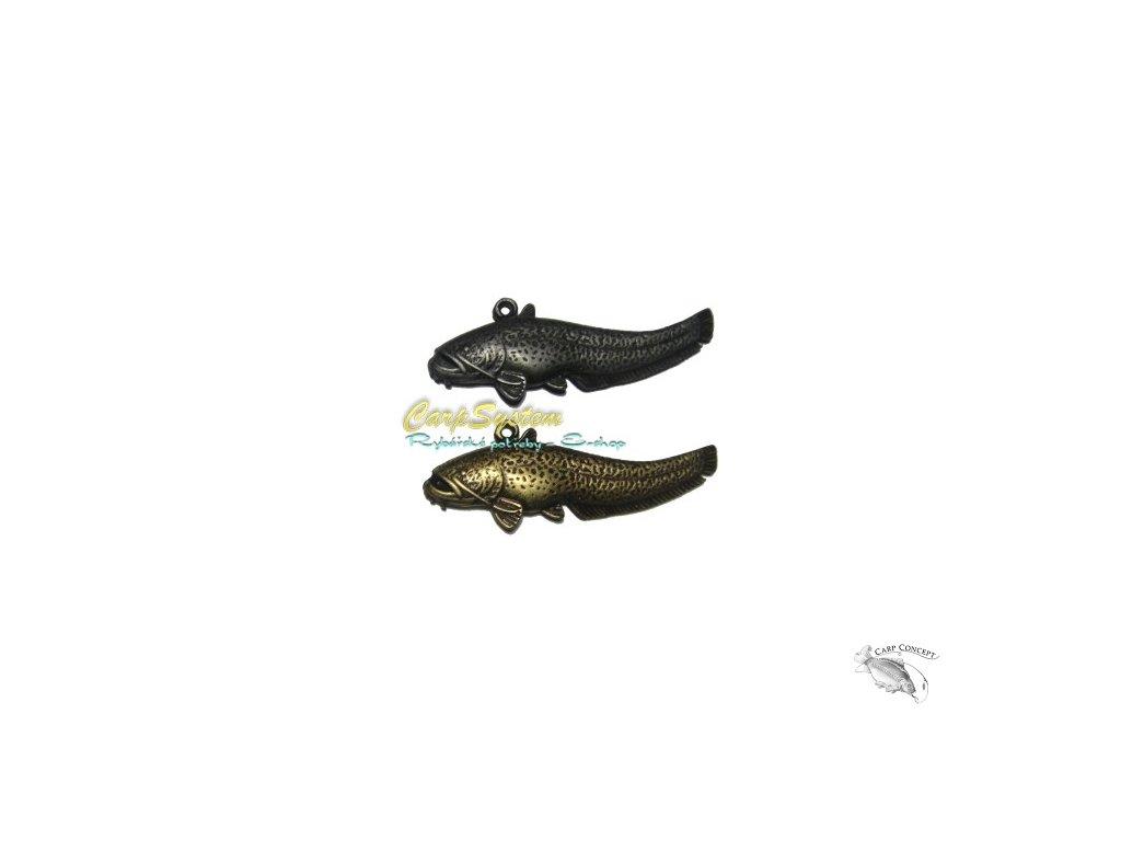 Rybářský přívěsek na krk - Sumec -  Zlatý