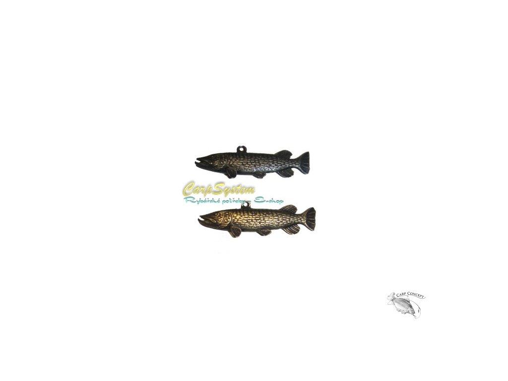 Rybářský přívěsek na krk - Štika - Stříbrný