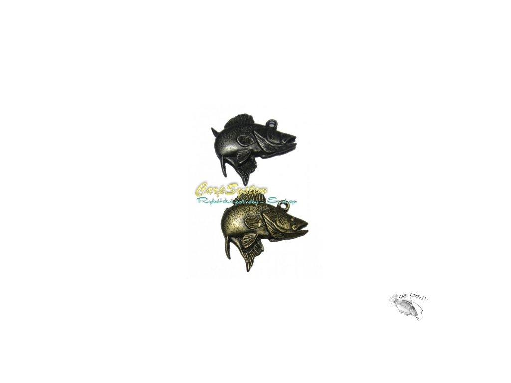 Rybářský přívěsek na krk - Candát - Zlatý