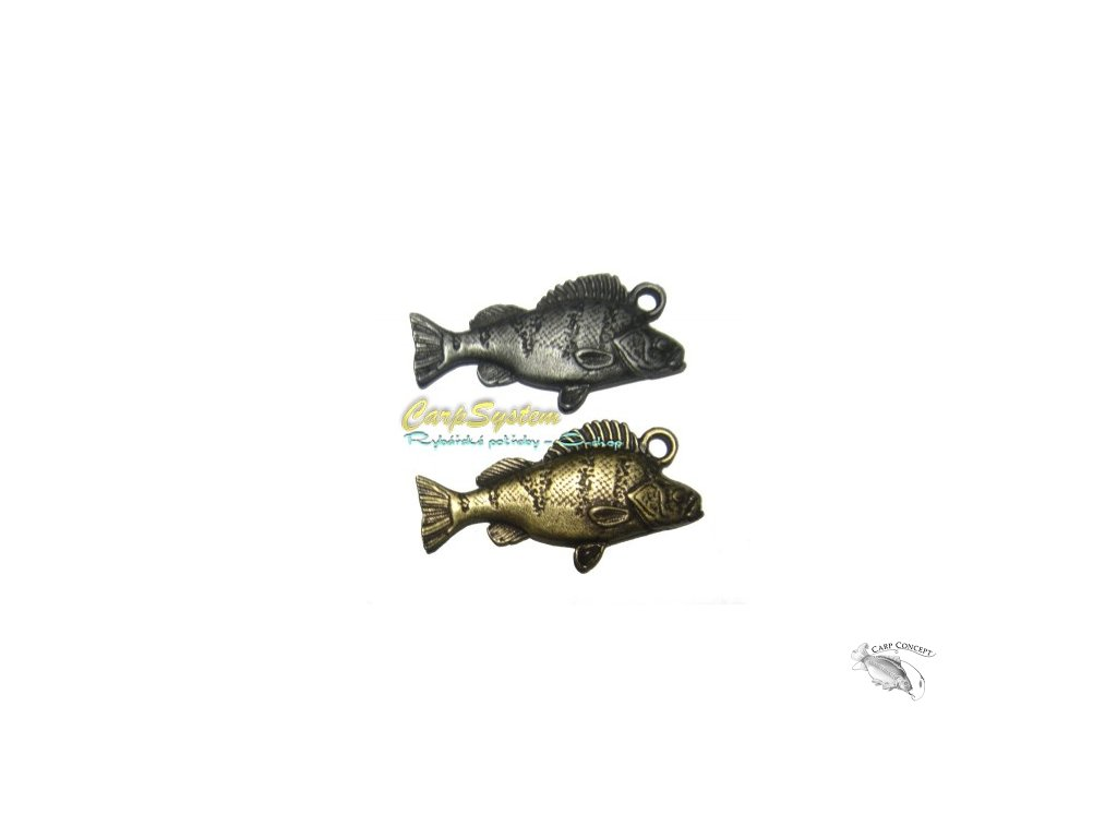 Rybářský přívěsek na krk - Okoun  - Stříbrný