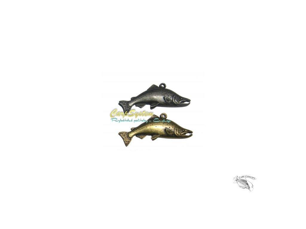 Rybářský přívěsek na krk - Losos - Zlatý