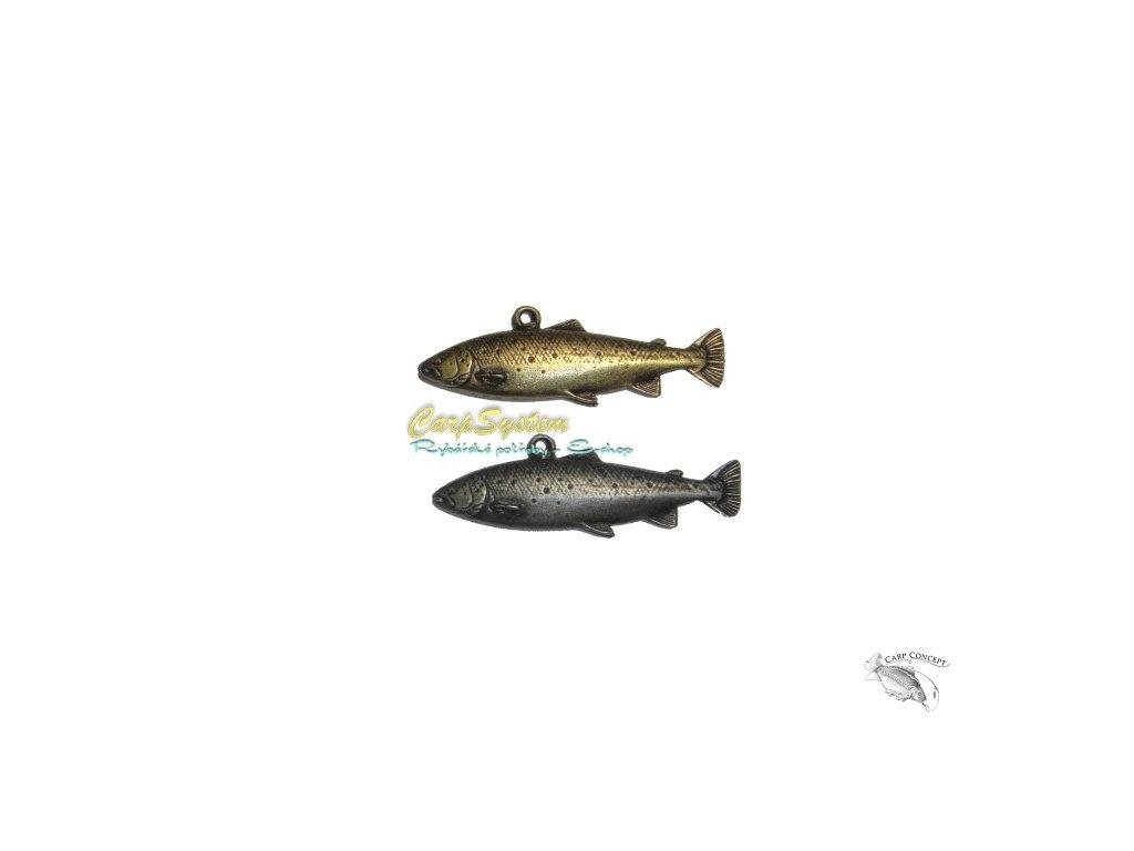 Rybářský přívěsek na krk - Pstruh - Zlatý