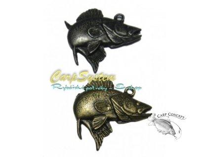 Rybářský přívěsek na krk - Candát - Stříbrný