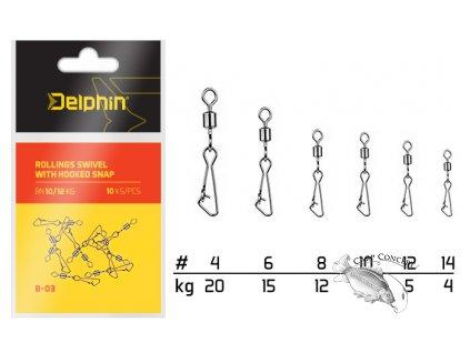 Delphin Karabinka s obratlíkem Rollings Swivel with Hooked Snap B-03 10ks
