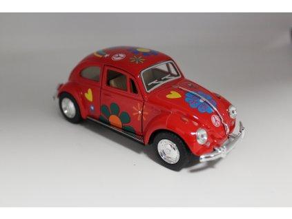 Model auta Volkswagen Brouk 1967 Hippies červený 1:32