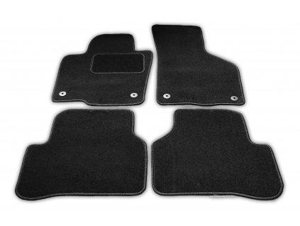Textilní autokoberce Kia Carens 2007-2013 (Fixace Oválná fixace řidič + spolujezdec, Obšití Zelený lem)