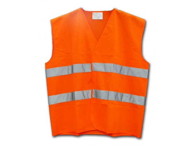 Reflexní vesta oranžová DLE NOVÉ VYHLÁŠKY! EN ISO 20471:2013