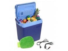 Chladicí box 25 litrů BLUE 220/12V LED displej s teplotou + mycí houba ZDARMA!