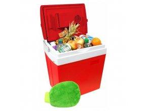 Chladící box 30litrů RED 220/12V displej s teplotou + mycí houba ZDARMA!