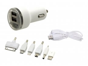 Nabíječka telefonu 12V 2,1A (Iphone 4-8, miniUSB, microUSB, USB-C)