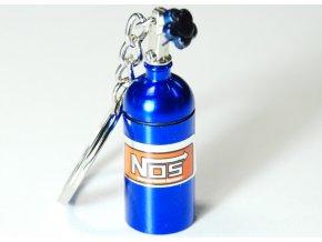 Přívěsek na klíče - láhev NOS, modrá