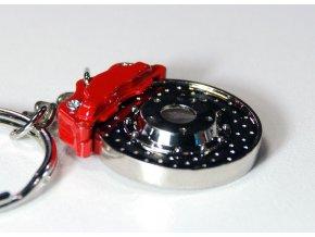 Přívěsek na klíče - vrtaný brzdový kotouč s třmenem