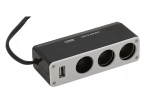 Roztrojka autozásuvky 12/24V + USB 1000mA