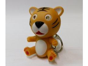 Svítící přívěsek na klíče- zvířátko Tygr