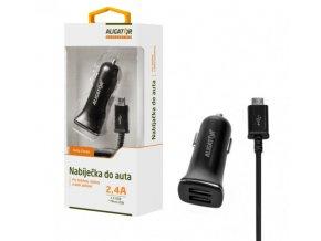 Aligator nabíječka do auta Turbo charge, 12/24 V, 2,4 A, microUSB, 2x USB výstup, černá