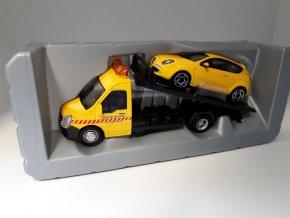 Model auta Odtahovka aut a Alfa Romeo Mito Yellow 1:43 Bburago
