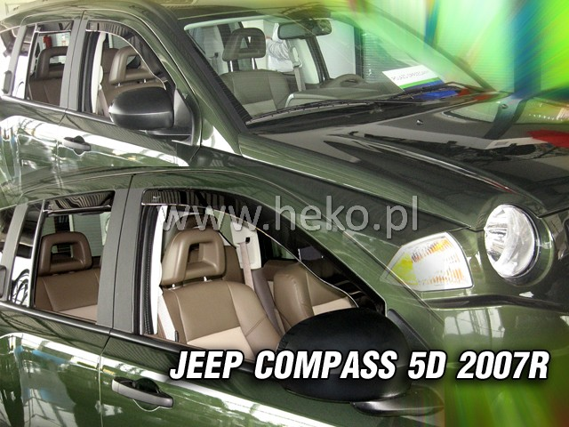 Ofuky oken Heko Jeep Compass 5D 2007- přední + zadní