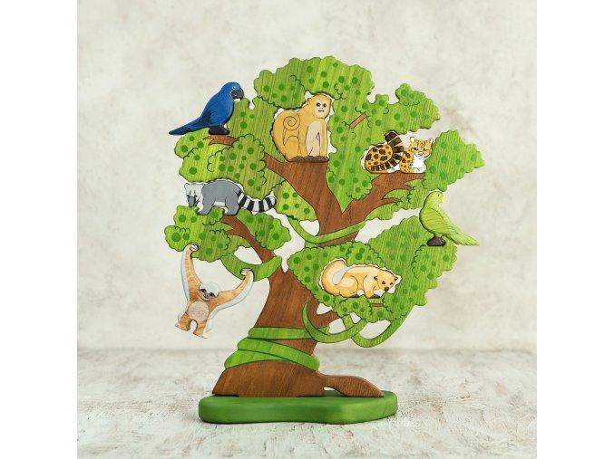 Dřevěný strom - Amazonský strom se zvířaty a ptáky