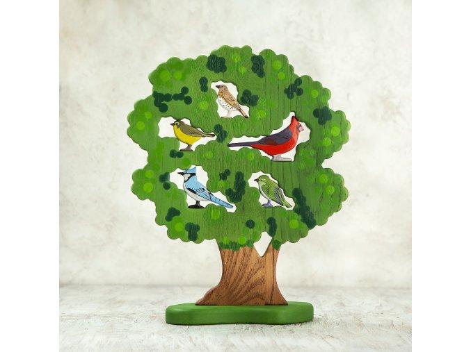 Dřevěný strom - Velký strom s ptáky