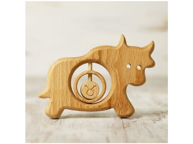 zodiac sign taurus baby rattle teether