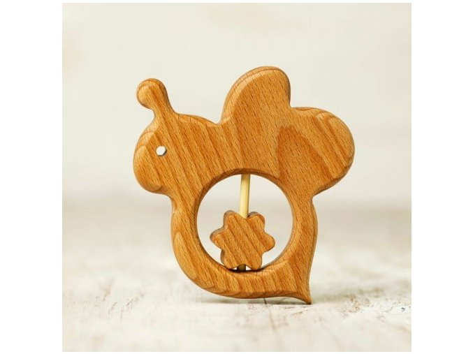 wooden baby pacifier toy bee and flower