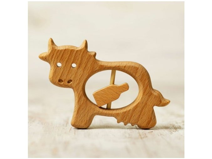 wooden baby teether toy cow and milk