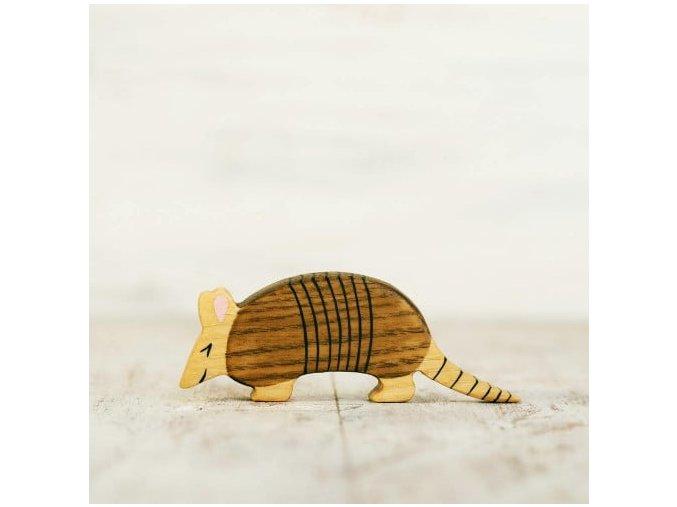wooden toy armadillo figurine
