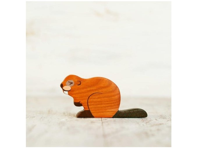 wooden toy beaver figurine