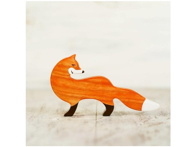 wooden toy fox figurine