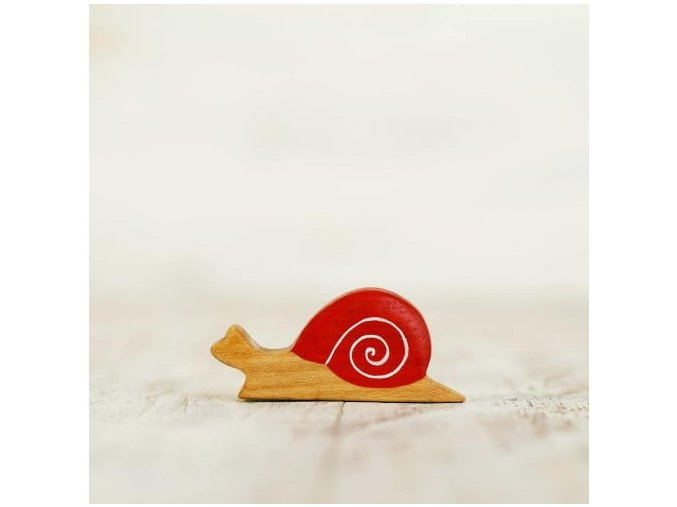 wooden toy snail figurine
