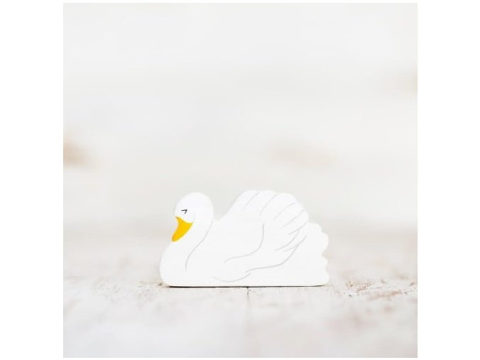 wooden toy swan figurine