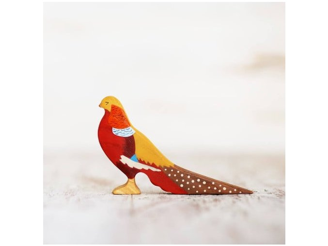 wooden toy pheasant figurine